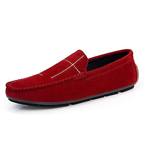 BAQI Männer 2020 Neue Art und Weise Wilde Trend-Walking-Schuhe Loafers Schuhe Herbst Freizeit Slip-On Herren Freizeitschuhe Mode Faule Skate Schuhe,Rot,45