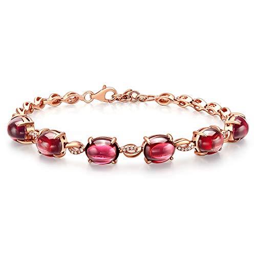 KnSam Bracelet Femme Fine Grenat Naturel 12.5ct, Or Rose 18 Carats Élégance Cadeau Noël