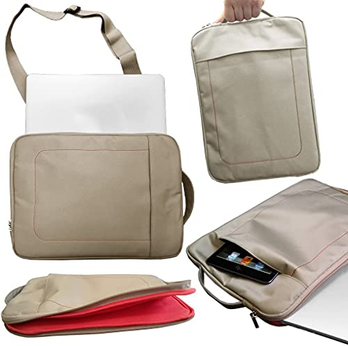 Funda impermeable para portátil con correa desmontable y bolsillos laterales para Lenovo ThinkPad X13 Yoga Gen 2 (13'), color caqui y rojo