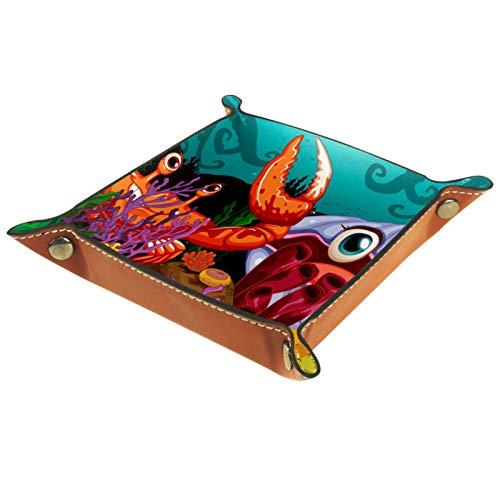 Bandeja de Cuero - Organizador - Cute dibujos animados un gran cangrejo y una almeja - Práctica Caja de Almacenamiento para Carteras,Relojes,llaves,Monedas,Teléfonos Celulares y Equipos de Oficina