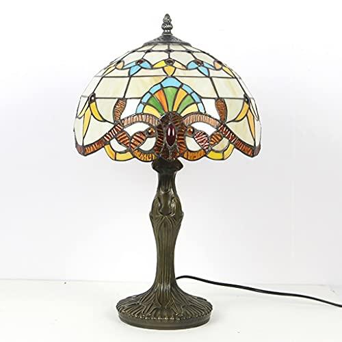 Lámpara de cristal teñido retro europea y americana, personalidad creativa, dormitorio, hotel, villa, sala de exposición, protección para los ojos, lámpara de mesa de ahorro de energía (Size : 2)