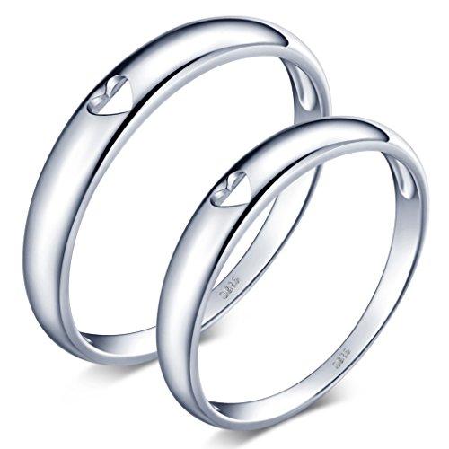Unendlich U Simpel Hohl Herz 925 Sterling Silber Glatt Paar Band Ringe Eheringe Trauringe Verlobungsringe Partnerringe Freundschaftringe, Größe 62