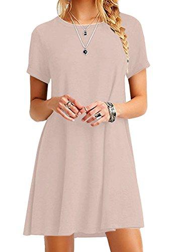 OMZIN Damen Plus Size Casual Kurzarm Winter Kleider Sommerkleid Tunika,Khaki,XS