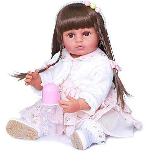 Zero Pam Lifelike Rebron Baby Dolls African American Full Body Silicone Waterproof Toddler Girl Bebe with White Dress (Tan Color Girls)