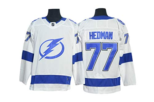 Gmjay Victor Hedman # 77 Hockey Trikot Tampa Bay Lightning Team Hockey Blau Genähte Buchstaben Zahlen NHL Eishockey Shirt,White,XXXL