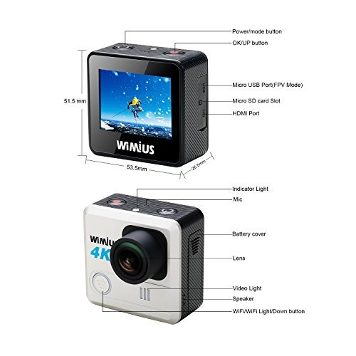 WiMiUS Action Camera 4K 20MP WiFi Sports Camera Ultra HD Waterproof Underwater Cam 30M 170 Degree Wide-Angle WiFi Sports Cam with EIS Anti-Shake Plus 2 Batteries & Mounting Accessories Kit,L1 Silver