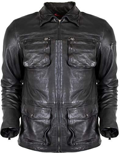 MDM heren biker lederen jas met kraag van echt leer in zwart of bruin vintage