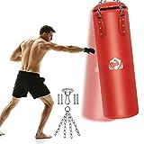 Boxsack Gefüllt 100 x 32cm, Heavy Duty Vierpunkt-Stahlkette PU-Leder Punchingsäcke, Punch...