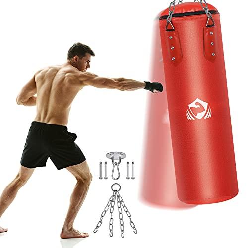 Boxsack Gefüllt 100 x 32cm, Heavy Duty Vierpunkt-Stahlkette PU-Leder Punchingsäcke, Punch Sandsack, Kampfsport Punching Bag, Boxhaken Kick Bag für Mann Frauen Kinder Jugendliche Boxtraining Fitness