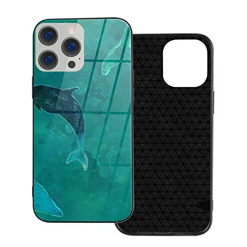 Funda de teléfono compatible con iPhone 12Pro Max-6.7 pulgadas, suave cubierta de TPU de protección completa, parte trasera de cristal templado, delfines lenose Teal