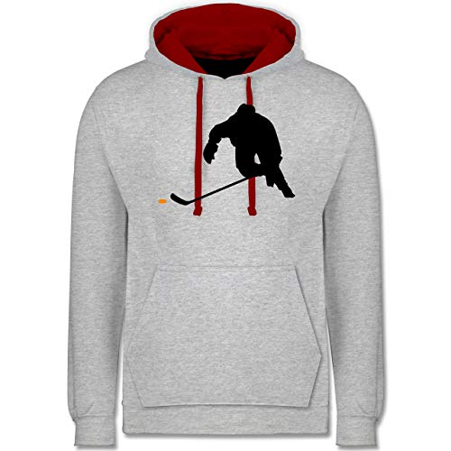 Shirtracer Eishockey - Eishockey Sprint - XS - Grau meliert/Rot - trainingstrikot Eishockey - JH003 - Hoodie zweifarbig und Kapuzenpullover für Herren und Damen