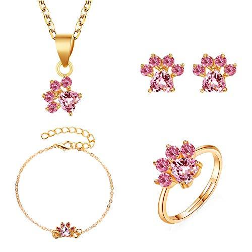 Jewelry Set Cute Cartoon Zircon Cat Claw Necklace Earrings Ring Bracelet Four-Piece Female