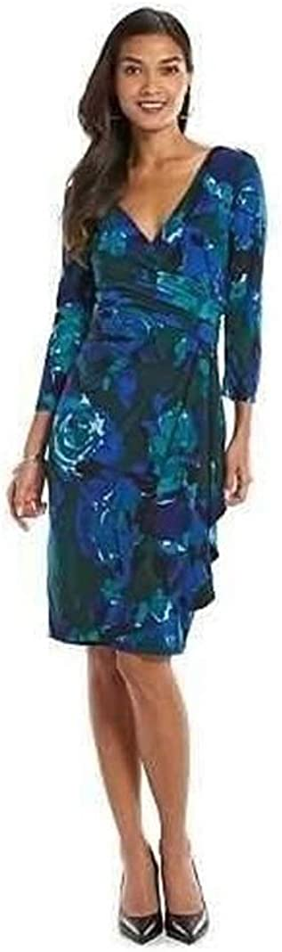 Chaps Women Surplice Faux Wrap Sheath Dress, Size Small Green/Teal