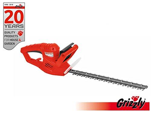 Grizzly EHS 4500 Tagliasiepi elettrico con 450 Watt di potenza e lunghezza di taglio 41 cm Coltello freno a mano protezione interruttore di sicurezza