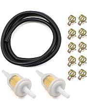 Benzineslang-kit, brandstoffilter, 2 stuks 6 mm benzinefilter + 2 m Ø 6 mm brandstofleiding vacuümbuis + 10 stuks slangklemmen voor auto, motorfiets, scooter, autoscooter, grasmaaier