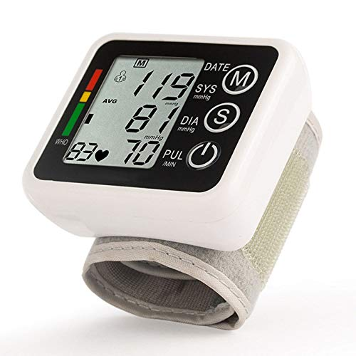 Esfigmomanómetro electrónico doméstico Tipo muñeca, Brazalete de Monitor de presión Arterial Digital automático para el hogar, 99 Grupos de memorias para usuarios duales Pantalla LCD Grande (Negro)