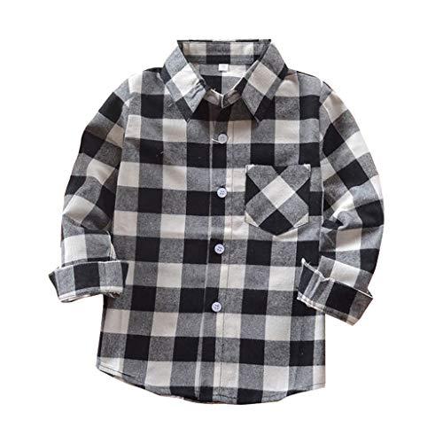 Camisa de flanela xadrez infantil meninos meninas manga comprida botão vermelho xadrez menina menino NB-6T, Black Plaid, 2-3T