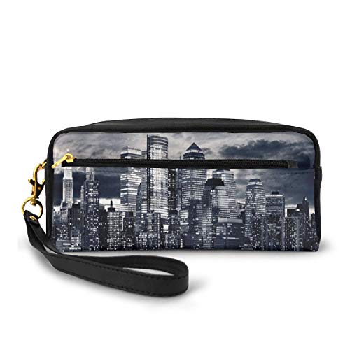 Pencil Case Pen Bag Pouch Stationary,Dramatic View York Skyline from The Jersey Side Clouds Buildings Urban,Small Makeup Bag Coin Purse