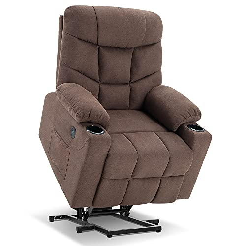Mcombo Electric Power Lift Recliner Chair Sofa for Elderly, 3 Positions, 2 Side Pockets and Cup Holders, USB Ports, Fabric 7286...