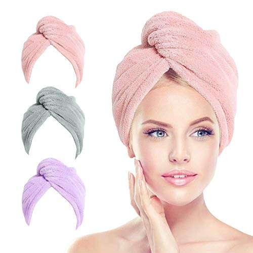 3 Pack Microfiber Hair Towel Wrap for Curly Hair with Button, Turbie Twist Hair Drying Towels for Women Long Hair Anti Frizz, Perfect Cotton Hair Turbans for Wet Hair