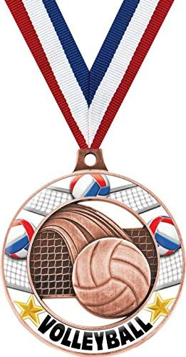 2 Glow in The Dark Volleyball Captain Medal Prime Crown Awards Bronze Volleyball Medals
