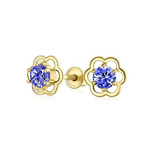 Tiny delicate AAA CZ Flor Stud Pendientes para Mujeres Adolescente 14K Oro Real Atornillado Simulado Piedra de Nacimiento Colores
