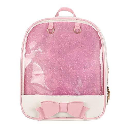 Ita Bag Backpack with Bowknot Design Pins Display Transparent Window Bag, Pink