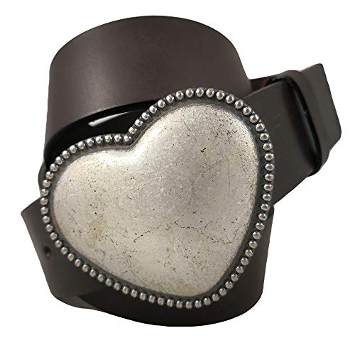 almela - Cinturón de mujer - Piel legítima - Cuero - 4 cm de ancho - Hebilla Corazón en plata vieja - 40mm - Jeans, vestidos, camisas anchas… (Marrón, 115)