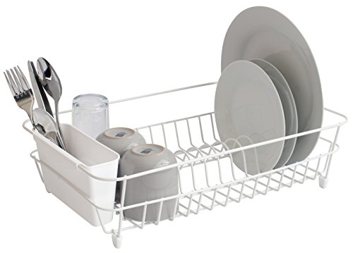 simplywire - White Dish Drainer with Cutlery Basket - Anti Rust