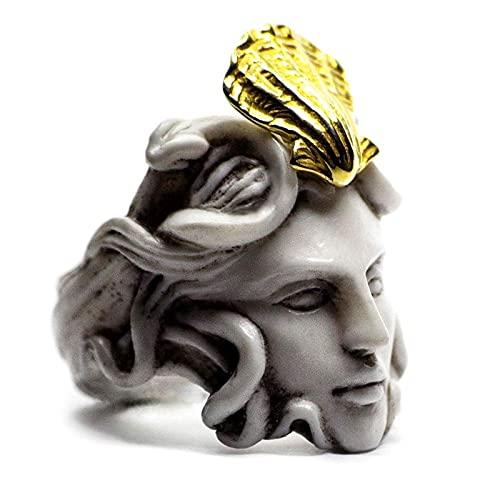 HEHUO MitologíA Griega Medusa Zeus Ring, Medusa Rings para Mujeres, Zeus Rings para Hombres, Anillo De Escultura Vintage Regalos 12 A