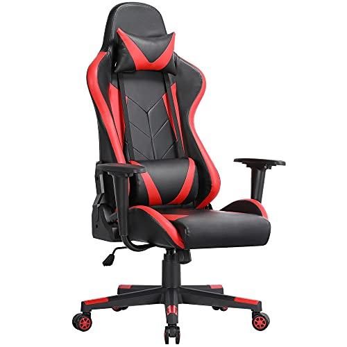 Yaheetech Ergonomischer Gaming-Stuhl Racing-Stil Bürostuhl hohe Rückenlehne PU-Leder Schreibtischstuhl Executive Computerstuhl mit Lendenwirbelstütze
