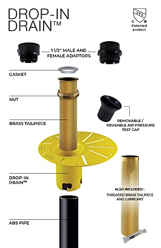 DROP-IN DRAIN Installation Kit for Freestanding Bathtub - with Black ABS Pipe