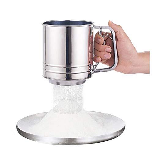 Bibykivn Mehlsieb mit Griff - Küchenhelfer aus Edelstahl - Einhand-Bedienung Zuckersieb, 600g Füllvolumen, einfache Handhabung für Mehl und Zucker (L)