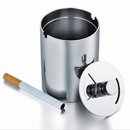 Yyqx Cenicero 1 unid Metal portátil Mini Acero Inoxidable Bote de Basura Papelera cenicero Caja de Cigarrillos for Oficina hogar Restaurante Hotel Coche cenicero Coche (Color : Chrome, tamaño : S)