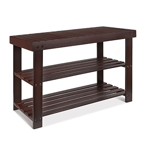 HOMFA Bamboo Shoe Rack Bench 3-Tier, Shoe Organizer, Storage Shelf, Good Load Bearing, Ideal for Entryway Hallway Living Room and Corridor Dark Brown