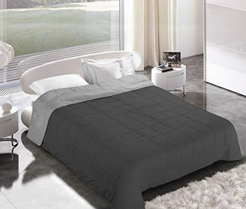 Italian Bed Linen Piumino Estivo, Microfibra, Grigio Chiaro/Grigio Scuro, 2 Posti