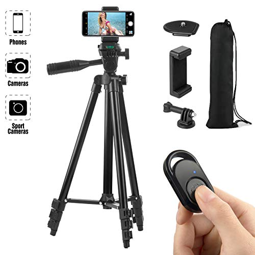 Hitch Phone Tripod Gopro Tripod 51 Inch 130cm Aluminum Lightweight Smartphone Tripod for iPhone/Samsung/Huawei Cellphone Camera and Gopro with Bluetooth Remote Control Carrying Bag and Gopro Mount