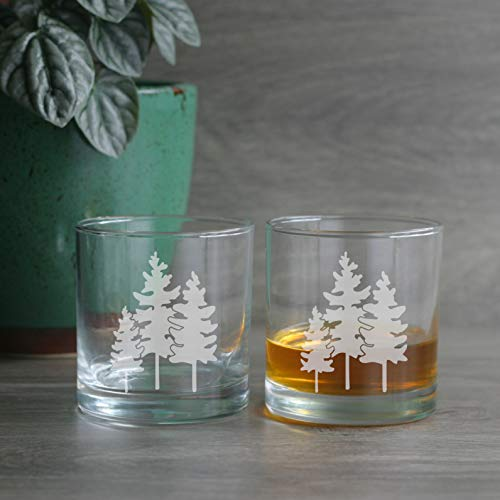 FAMILY TREE Lowball Glasses set of 2 - Dishwasher-safe etched whiskey glass