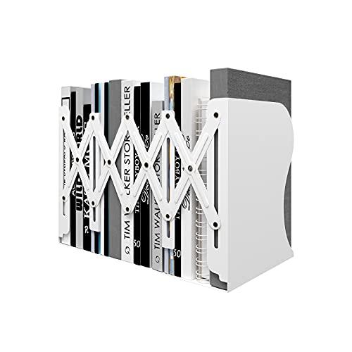 PUNCIA Expandable Bookcase Desktop Bookend Stand Holder Adjustable Book Rack for Kid Children Student Book Storage Organizer(White)