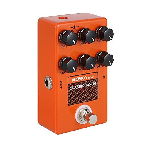 Queenser MOSKYo Guitar Cabinet Simulator Speaker Emulator Pedal de efeito de guitarra com controles de nível/baixo/alto/médio/unidade/voz para baixo de guitarra elétrica