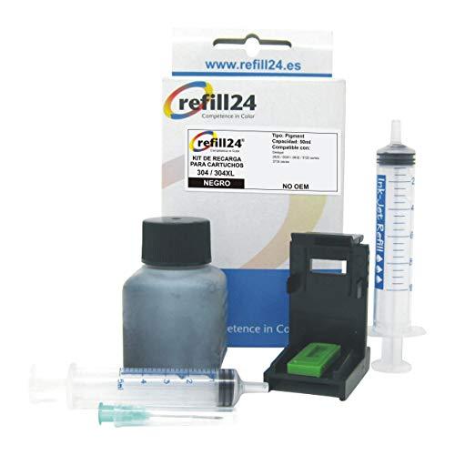 Kit de Recarga para Cartuchos de Tinta HP 304, 304 XL Negro, Incluye Clip y Accesorios + 50 ML Tinta
