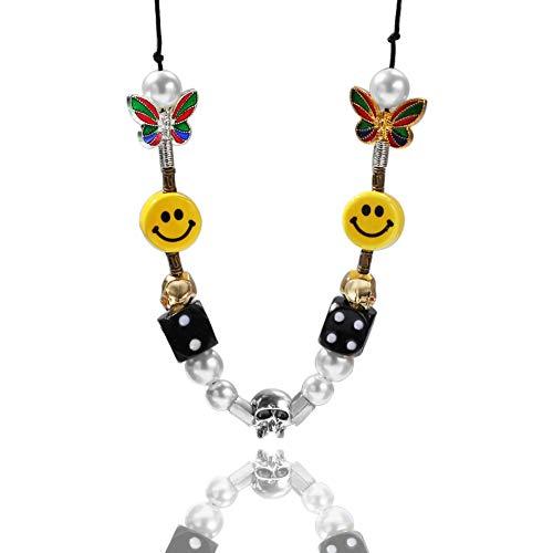 Schädel-Perlen-Halsketten-Armband, Hip Hop-Smiley-Zustrom-Männer und Frauen-Halsketten-Armband-Geschenk-Zusatz-Armbandhalskette.