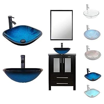 LUCKWIND Bathroom Vanity Vessel Sink Combo – 24-inch Cabinet Stand Mirror Artistic Glass Square Vessel Sink Faucet Drain ORB Single Storage (Espresso - Ocean Blue Glass Vessel)