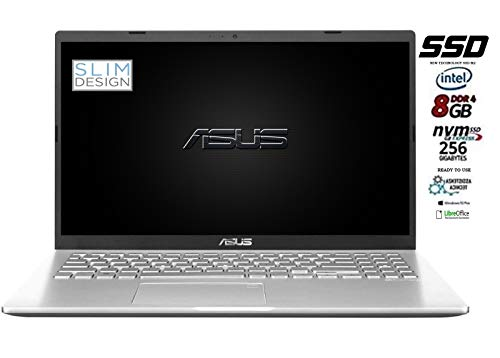 Asus Vivobook notebook, Ssd M.2 da 256Gb, Cpu Intel N4020 fino a 2.6Ghz, 8Gb ddr4, Display da 15,6 hd, wi-fi, 3 Usb, Bt, Win 10 pro, Pronto All'uso Gar. Italia