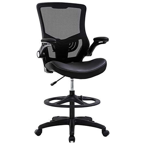 Drafting Chair Ergonomic Tall Office Chair Standing Desk Chair with Flip Up Arms Foot Rest Back Support Adjustable Height Mesh Drafting Stool, Black
