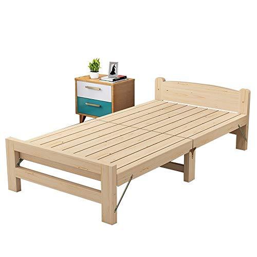 MOMIN Einfaches und praktisches Klappbett Holz Folding Einzel Mittagessen Bett for Innen Büro Balkon Terrasse Garten Strand Außen Bett (Farbe : Beige, Größe : 196X55X80CM)