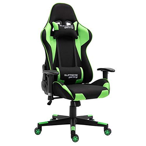 CARO-Möbel Gaming Stuhl Boost in schwarz/grün, ergonomischer Drehstuhl mit Stoffbezug, Racer Racing Bürostuhl mit verstellbaren Armlehnen