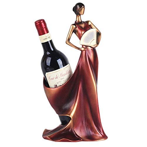 HEMFV Esculturas de decoración del hogar Mujer de la Belleza Titular de Vino en Forma de Estante Estante del Vino Escultura de Metal decoración útil Home Crafts (Color : Red)