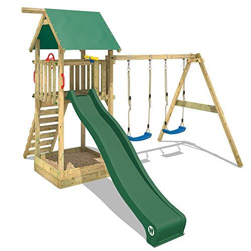 WICKEY Spielturm Klettergerüst Smart Empire mit Schaukel & grüner Rutsche, Kletterturm mit Sandkasten, Leiter & Spiel-Zubehör