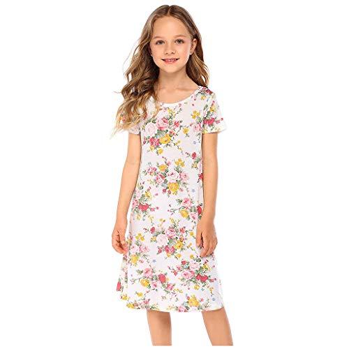 Kinder Wenig Mädchen Blumen Drucken Kleider Kurz Ärmel T-Shirt Nachthemd Kleid